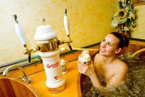 bathing in beer can reduce stress and improve blood circulation